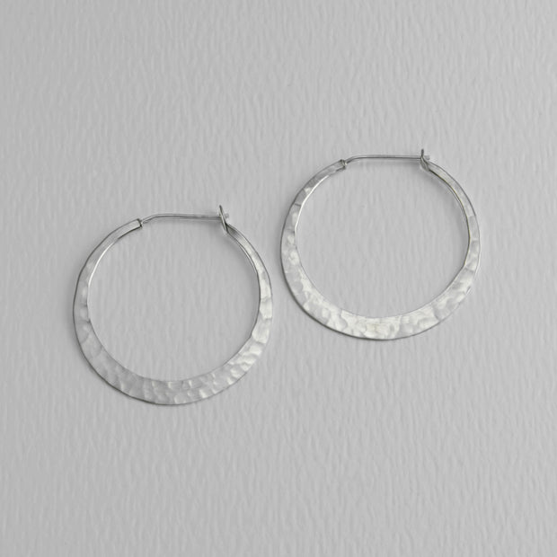 Hammered Sterling Hoops, 32mm