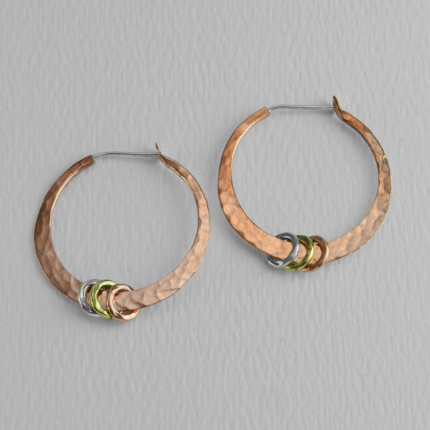 Hammered Copper Hoops With Rings, 25mm