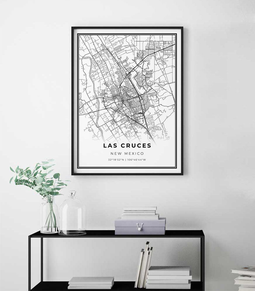 Real gold foil print of New Mexico NM USA wall art decor framed poster personalized artwork map gift graduation Las Cruces city map print