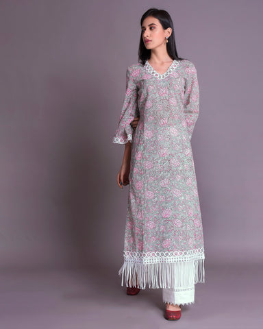Light Grey & Pink Hand Block Printed Cotton Mul-Mul Kurta With Palazzo Set of 2