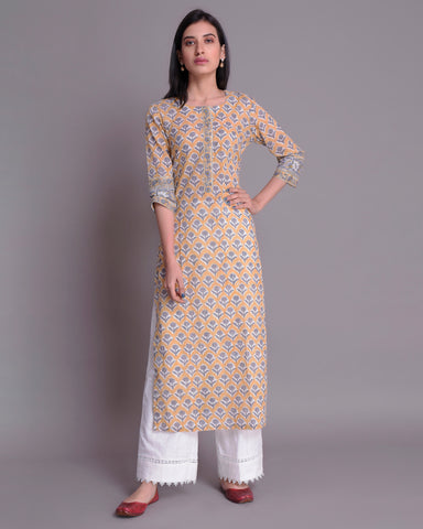 YELLOW & GREY  BOOTA HAND BLOCK PRINTED COTTON MUL MUL KURTA WITH BEAD WORK