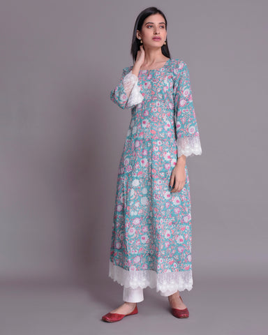 Sea Green  Hand Block Printed Cotton Mul Mul Kalidar Kurta With White Lace