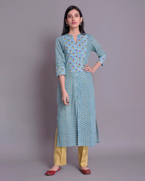 Teal Blue cotton Handblock Kurta Detailing With Red Bead Work