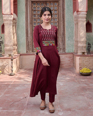 MEHROON IKKAT KURTA WITH PANTS