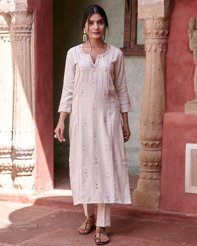 IVORY HANDLOOM  COTTON WITH EMBROIDERY  KURTA WITH PANTS