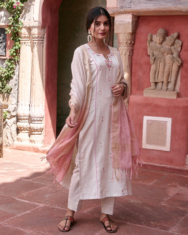IVORY HANDLOOM COTTON WITH EMBROIDERY  KURTA WITH PANTS AND DUPATTA