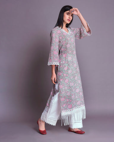 Light Grey & Pink Hand Block Printed Cotton Mul-Mul Kurta