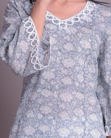 Grey & White Hand Block Printed Cotton mul mul  Kurta With Lace