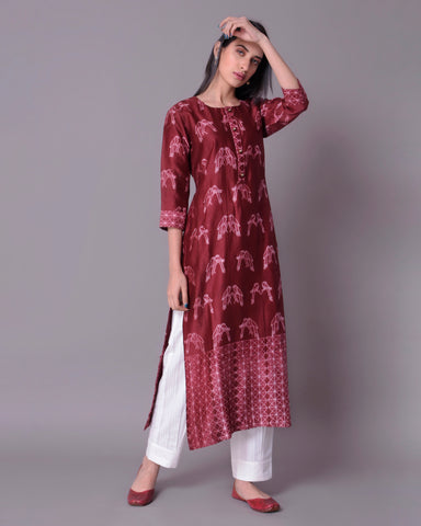 Maroon shibori Chanderi Silk Kurta with mulmul cotton lining