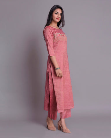 Magenta pink Handloom Cotton silk Kurta with Pants Set of 2