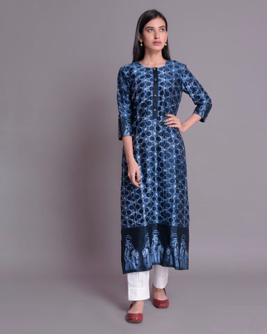 Navy blue shibori Chanderi Silk Kurta with mulmul cotton lining