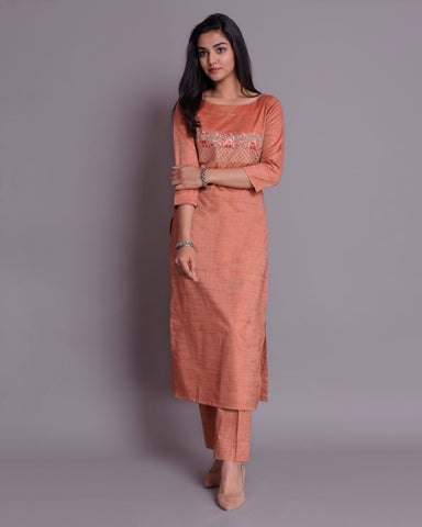 Rust Handloom Cotton silk Kurta with Pants Set of 3