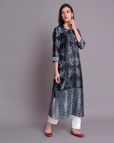 BLACK  SHIBORI CHANDERI SILK KURTA WITH MULMUL COTTON LINING