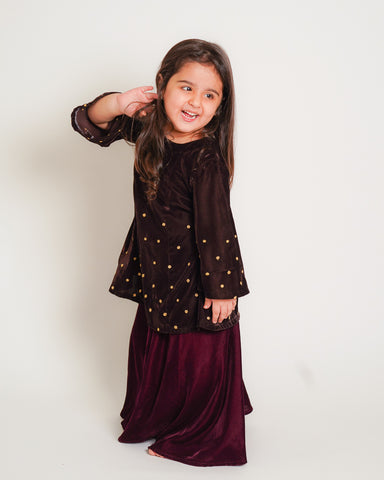 BROWN  VELVET EMBROIDERED  KURTA WITH MEHROON PLAZO