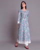 Sea Green  Hand Block Printed Cotton Mul Mul Kalidar Kurta With White Lace & Box Pleat  Pants Set of 2