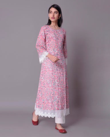 BABY PINK HAND BLOCK PRINTED COTTON MUL MUL KALIDAR KURTA WITH WHITE LACE & BOX PLEAT PANTS SET OF 2