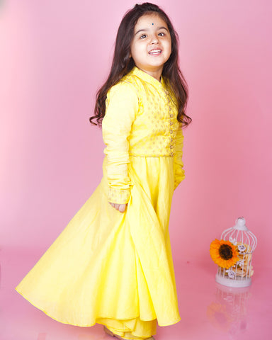 YELLOW MUL MUL ANARKALI WITH BOOTA CHANDERI JACKET