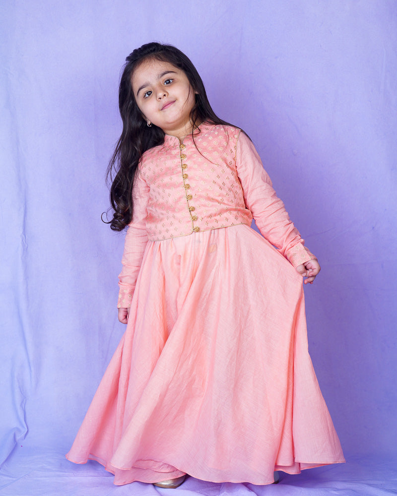 PEACH MUL MUL ANARKALI WITH BOOTA CHANDERI JACKET