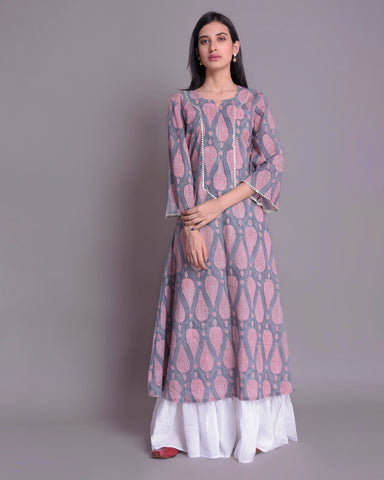 Lava Grey & Pink Motifs Hand Block Printed Cotton Mul Mul Dress
