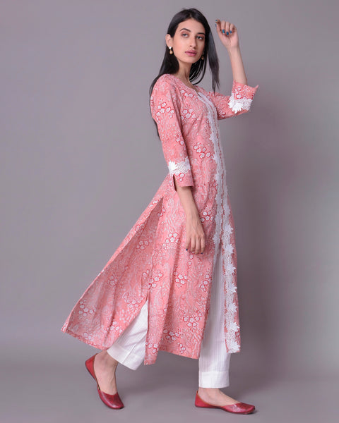 Peach Cotton Mul Mul HandBlock  Kurta With White Lace
