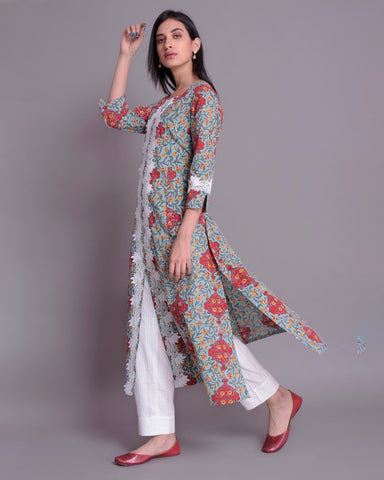 FERN GREEN & RED COTTON MUL MUL HANDBLOCK KURTA WITH WHITE LACE & BOX PLEAT PANTS SET OF 2