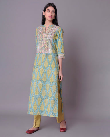 Olive Green Mughal Print cotton Mul Mul  HandBlock Kurta With Bead Work
