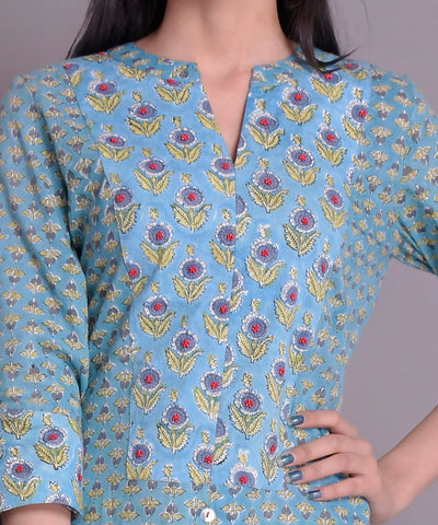 Teal Blue Cotton Handblock Kurta Detailing With Red Bead Work & Cotton Pants Set of 2
