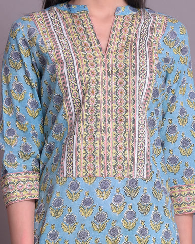 TEAL BLUE PRINT COTTON MUL MUL HANDBLOCK KURTA WITH BEAD WORK SET OF 2