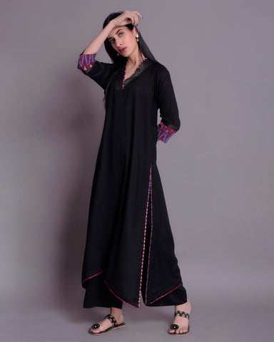 BLACK MODAL COTTON C-CUT KURTA AND PALAZZO WITH IKKAT & ZARI DETAILING