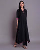 BLACK MODAL COTTON C-CUT KURTA WITH IKKAT & ZARI DETAILING