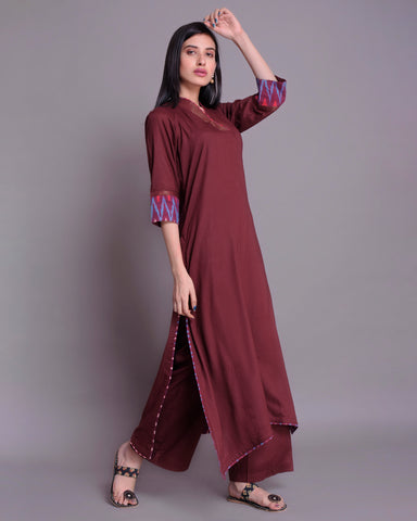 WINE MODAL COTTON C-CUT KURTA WITH IKKAT & ZARI DETAILING
