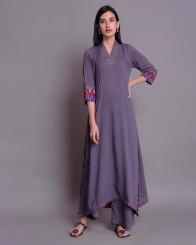GREY MODAL COTTON C-CUT KURTA AND PALAZZO WITH IKKAT & ZARI DETAILING
