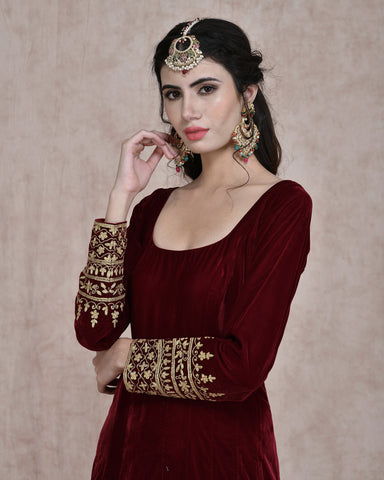 MAROON VELVET EMBROIDERED ANARKALI DRESS
