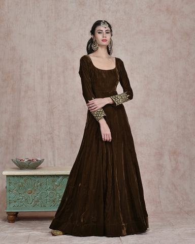MEHENDI GREEN VELVET EMBROIDERED ANARKALI DRESS