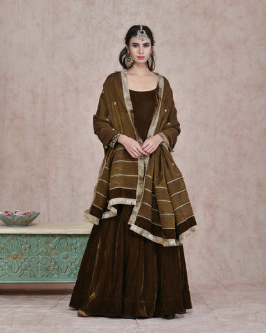 MEHENDI GREEN VELVET EMBROIDERED ANARKALI DRESS WITH PURE CHANDERI TISSUE DUPATTA