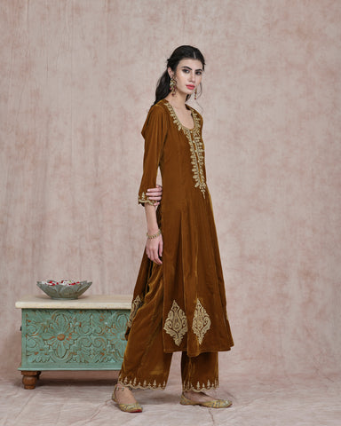 MUSTARD  VELVET EMBROIDERED KURTA AND PLAZO