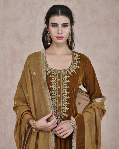 MUSTARD  VELVET EMBROIDERED KURTA AND PLAZO WITH PURE CHANDERI TISSUE DUPATTA