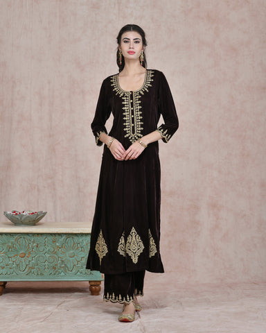 BROWN  VELVET EMBROIDERED KURTA AND PLAZO