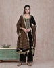 BROWN  VELVET EMBROIDERED KURTA AND PLAZO WITH PURE CHANDERI TISSUE DUPATTA
