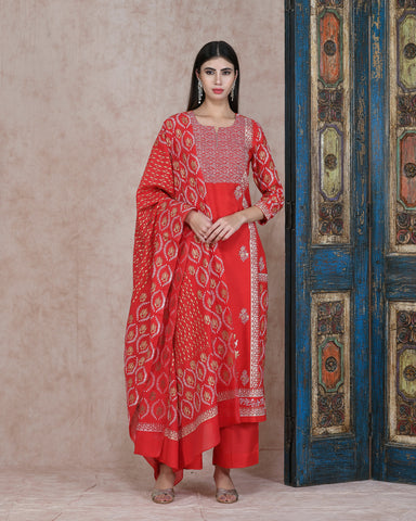 RED FOIL HANDBLOCK COTTON SILK KURTA  WITH PLAZZO AND CHANDERI DUPATTA