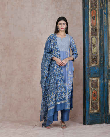 BLUE FOIL HANDBLOCK COTTON SILK KURTA  WITH PLAZZO AND CHANDERI DUPATTA