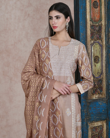 BEIGE FOIL HANDBLOCK COTTON SILK KURTA  WITH PLAZZO AND CHANDERI DUPATTA