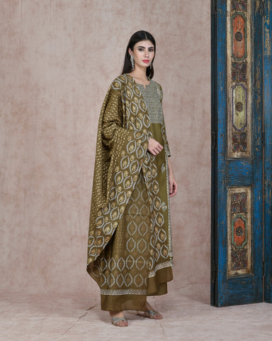 MEHENDI GREEN FOIL HANDBLOCK COTTON SILK KURTA  WITH PLAZZO AND CHANDERI DUPATTA