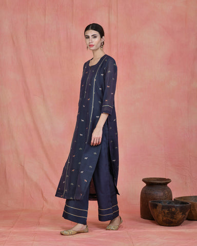 BLUE CHANDERI PICHWAI SUIT SET OF 3