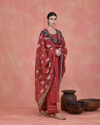 RED CHANDERI PICHWAI SUIT SET OF 3