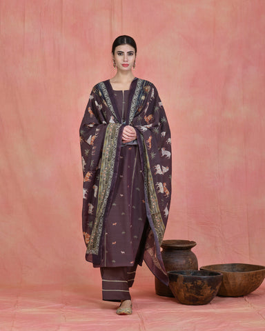 BROWN CHANDERI PICHWAI SUIT SET OF 3