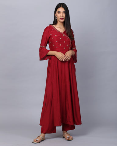 Maroon Angrakha Embroidered Cotton Silk Kurta With Palazzo Set of 2