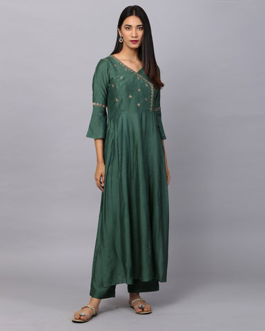 Green Angrakha Embroidered Cotton Silk Kurta With Palazzo Set of 2