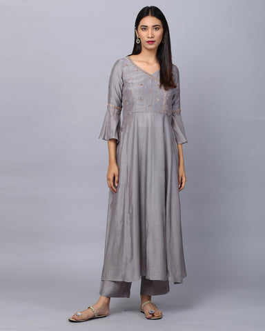 Grey Angrakha Embroidered Cotton Silk Kurta With Banrasi Dupatta & Palazzo Set of 3