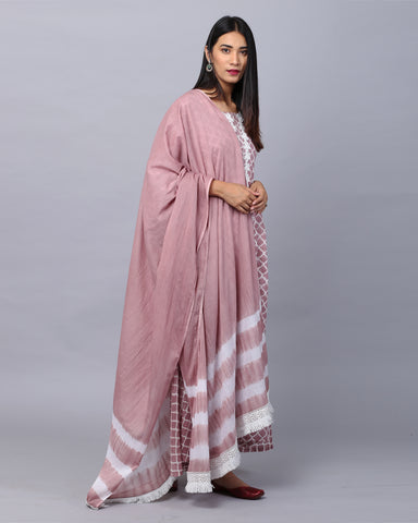 PINK HANDBLOCK COTTON MUL-MUL KURTI WITH LACE & MUL-MUL DUPATTA WITH PANTS SET OF 3